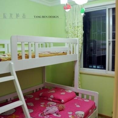 田园风格三居室适合宜家双胞胎儿童房可爱吊灯装修效果图