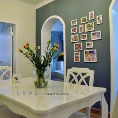 田园风格餐厅蓝色照片背景墙装修效果图