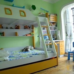 现代风格复式楼室内双人儿童房上下铺装修效果图