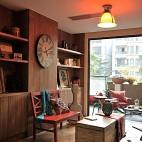 2013美式风格别墅阳台休闲区置物柜桌椅仿古地砖装修效果图片