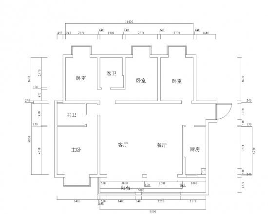 165平方四居室,请各位大师给些户型改造的建议,谢谢