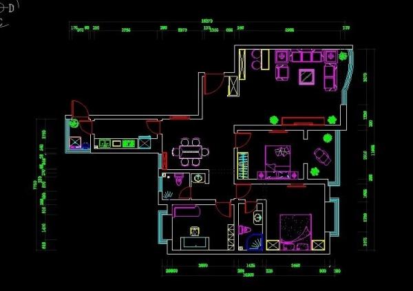 三室两厅一厨一卫的平面图,求指教!
