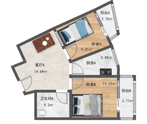 这种两居户型可以改三居吗