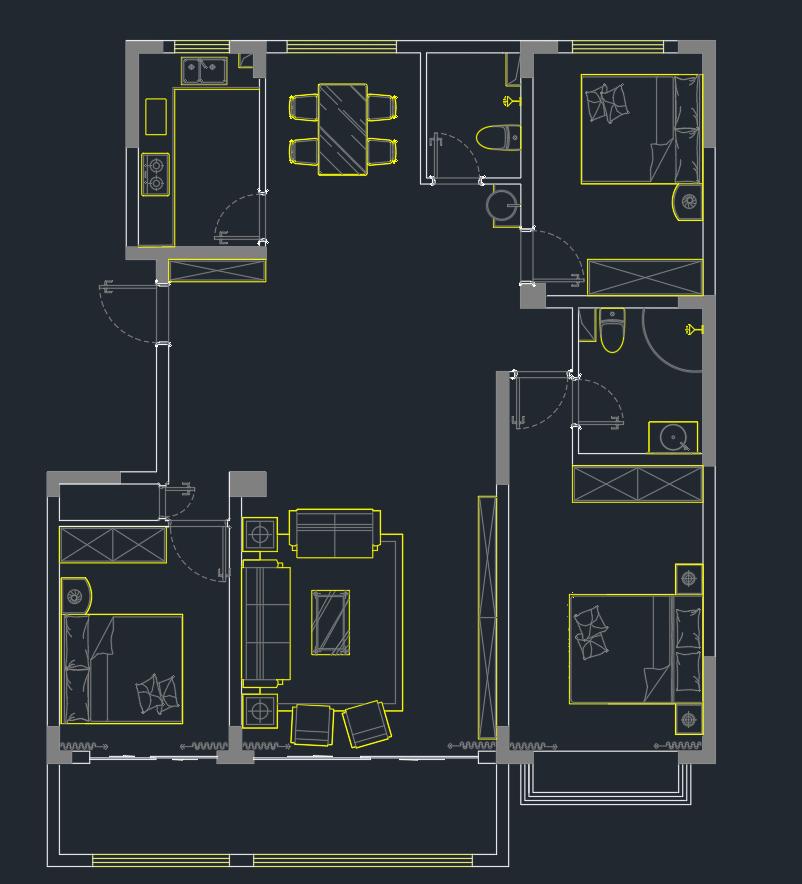 这个户型要怎么优化一下  感觉很困惑 中厅浪费面积太多了