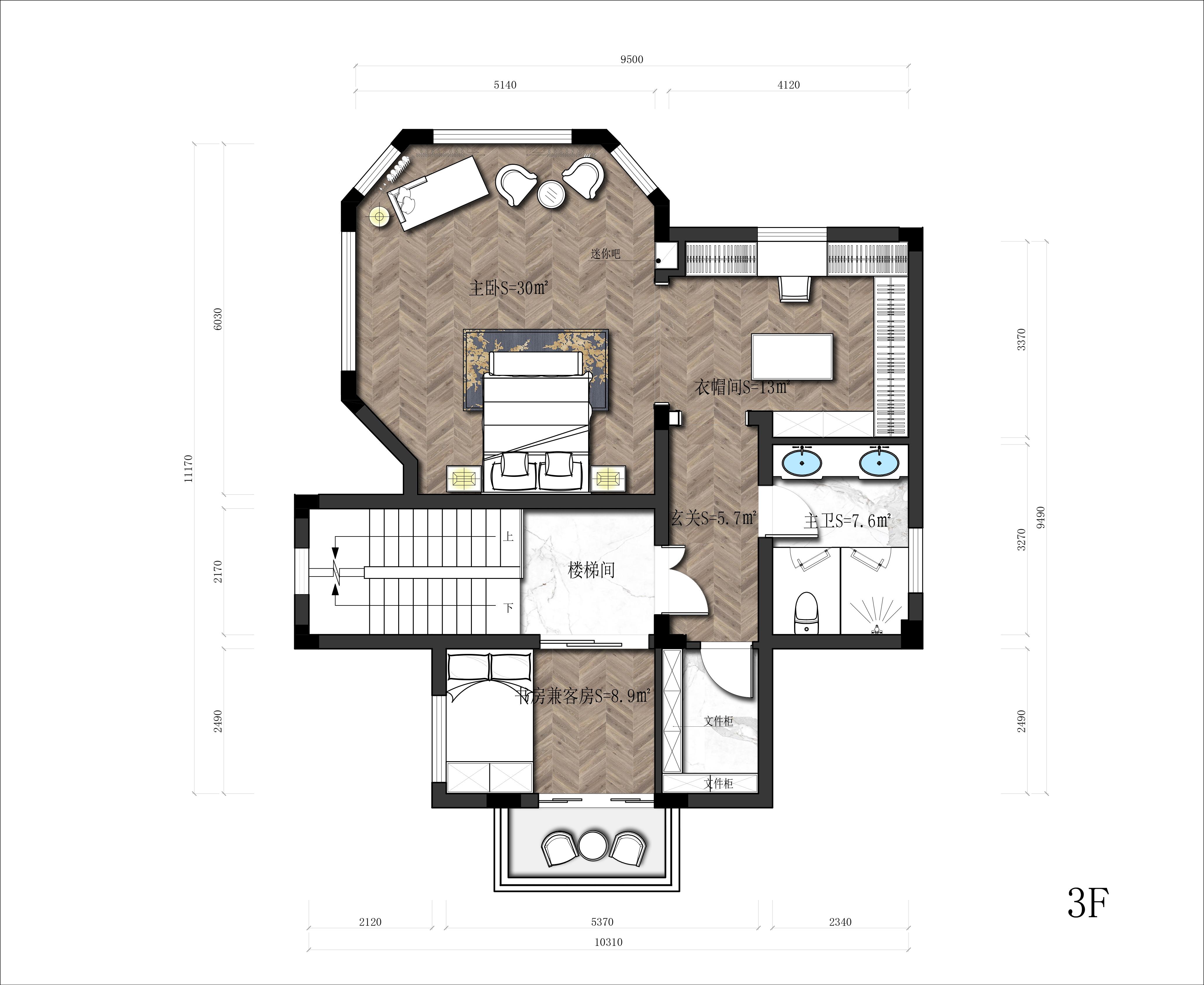 主卧面积太大(30平),想隔开到18平左右,或者在房间做功能分区