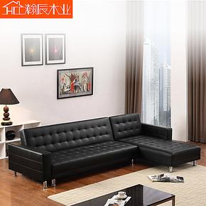 装修节 简约现代小户型客厅转角沙发组合 折叠pu皮艺沙发床