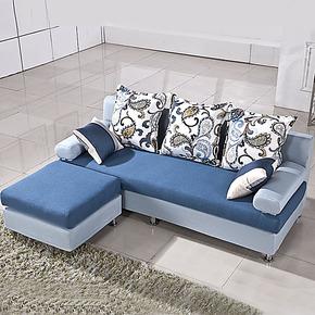 宜朗家居 地中海布艺沙发组合现代 小户型 客厅三人转角沙发 特价
