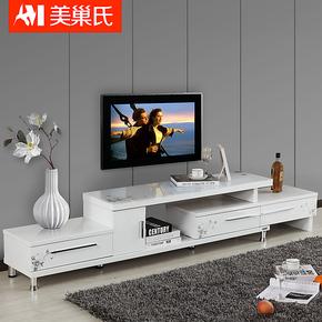 特价 可伸缩电视柜 钢化玻璃 白色烤漆 简约客厅家具组合地柜4792