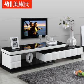 特价新款 可伸缩电视柜 黑白色烤漆 简约 玻璃组合客厅地柜7015