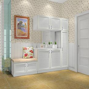 强象家具板式鞋柜简约现代鞋柜组合白色门厅柜百叶鞋柜特价N-0014