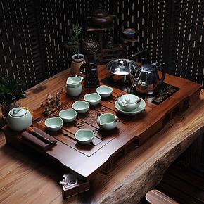 汝窑茶具陶瓷套装功夫茶具套装带茶盘电磁炉四合一实木茶盘花梨木