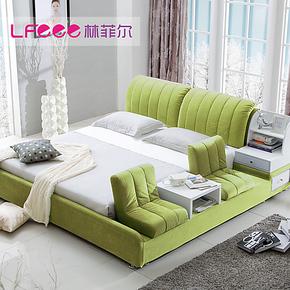 林菲尔 储物布艺床 双人床1.8米软床 结婚床 榻榻米床布床91565