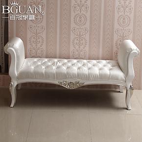 百冠家具 新古典后现代床尾凳 实木床尾几 布艺正品牌换鞋凳子