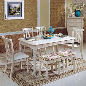 简约欧式时尚餐桌小户型餐桌椅组合一桌六椅长方形餐厅实木桌子