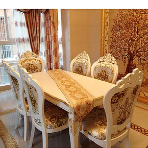 欧式餐桌 长方形饭桌 法式餐台 实木餐桌椅组合一桌四椅 三包到家