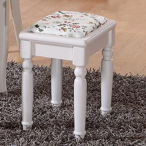 环友 特价小户型田园餐椅 实木白色餐椅 现代田园餐凳 凳子