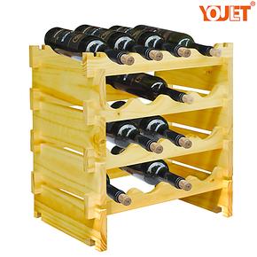 YOULET冠军 无限叠加纽西兰松木实林红酒架 酒庄专用YD4原色4瓶装