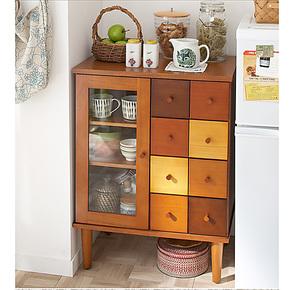 越茂新款 实木餐边柜酒柜 厨房收纳抽屉储物柜 带玻璃茶水柜碗柜
