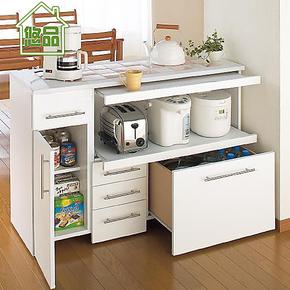 双层拉板式餐边柜 储物柜餐柜 简易橱柜 宜家厨房碗柜子 悠品家具