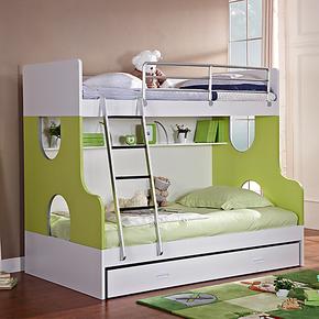 七彩人生 苹果绿环保儿童高低床 实木颗粒子母上下床 双层儿童床