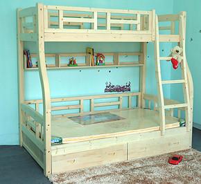 实木双层床松木书架子母床上下铺床松木儿童床实木上下床高低床