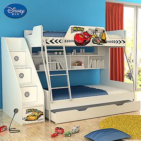 迪士尼 子母高低床 双层床上下实木儿童床  汽车速度赛道