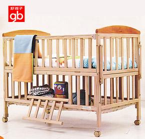 正品好孩子小龙哈彼实木无漆婴儿床童床bb宝宝游戏床带摇篮LMY288