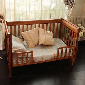 贝乐堡维多利亚的秘密实木婴儿床BB床加大宝宝床可变成人床游戏床