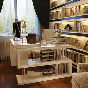 【装修节】简约现代转角电脑桌台式桌家用写字台书桌书架组合