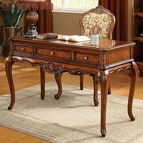 【预售】书房美式乡村风格实木书桌F9407写字桌 办公桌 电脑