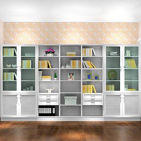 强象家具板式书柜组合简约现代书柜白色特价文件柜储物柜F-0013