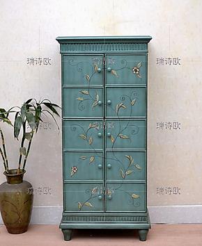 瑞诗欧 美式家具地中海风格 彩绘边柜 两门小书柜wj8058有货特价