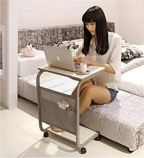 奥阁简易床边笔记本电脑桌置地简约宜家书桌懒人移动小桌子写字桌
