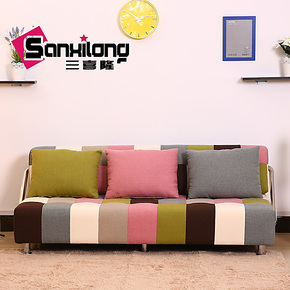 三喜隆 沙发床 韩式多功能折叠双人 太空记忆棉 1.2米床 多彩沙发