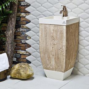 Meaka/茗嘉 人造石木纹洗手盆洁具 欧式仿古洗脸盆艺术立柱洗面盆