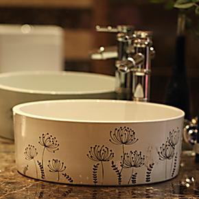 全国包邮景德镇地中海风格洗手盆洗脸盆台上盆洗面盆台盆-蒲公英
