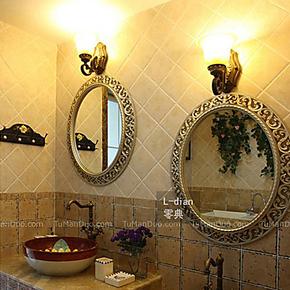 热卖折扣包邮!唯美精致缕空风格 防水椭圆浴室镜子卫浴镜子a02