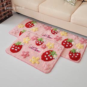包邮韩式漂亮草莓地垫门垫 可爱儿童 地毯防滑吸水浴室卧室地垫特