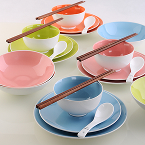 Siv.亿嘉 嘉润陶瓷器厨房餐饮用具碗盘碟筷子套装色釉 雅致24件套