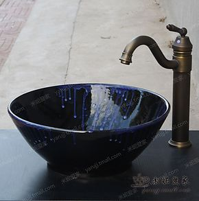 【爱之窑】欧式陶瓷台上盘艺术盆台上盆台盆洗脸盆洗手盆面盆花火