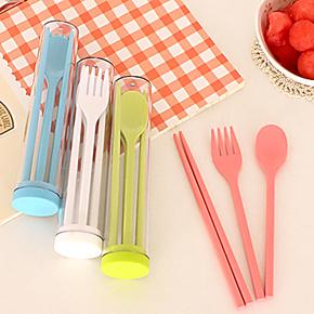 居家旅行户外便携餐具 韩国创意环保筷子叉子勺子 三件套36229