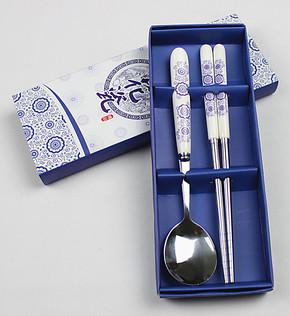 佳百年青花瓷韩式餐具套装 学生餐具 筷子勺子回礼礼品 商务礼品
