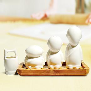 三个和尚陶瓷调味瓶/调味罐/牙签盒 套装 创意时尚厨房用品 包邮