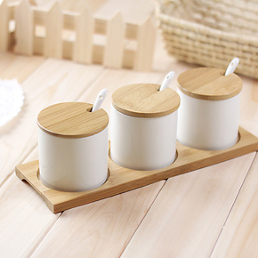 MIU COLOR米悠本色 竹木陶瓷等高调味罐套装 厨房调味瓶调料罐/盒