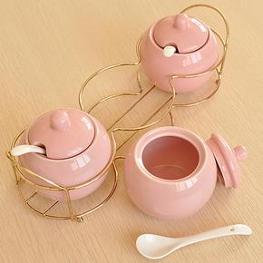 华发 调味罐陶瓷套装欧式调味瓶厨房用品创意瓶罐可爱日本调味盒