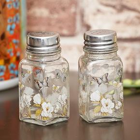 爱屋格林Evergreen厨房调味罐椒盐瓶玻璃调味瓶2个一套