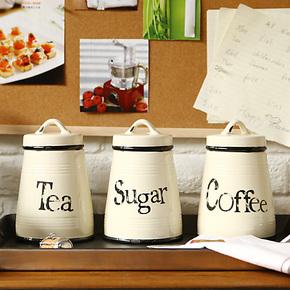 奇居良品 摆件陶瓷调料味瓶罐密封罐厨房收纳储物盐罐 艾维三件套
