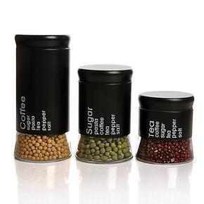 玻璃喷塑套皮圆形 密封储物鲜罐 干果花茶咖啡瓶罐 家居首选