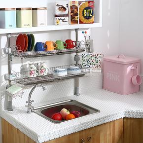 厨房置物架不锈钢碗架沥水架厨房用品调味品架双层收纳架区域包邮