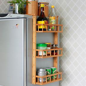 饰成家品厨房多功能楠竹冰箱架侧壁悬挂架浴室收纳架置物架调味架